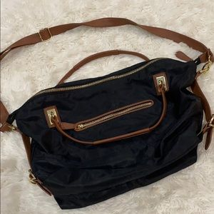 Black with tan leather trim Crossbody